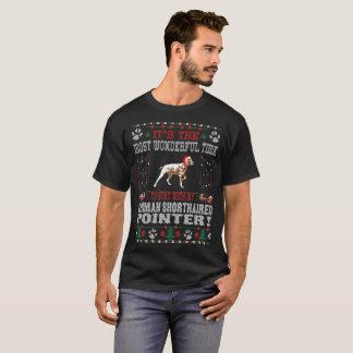 ドイツShorthairedポインターのクリスマスの醜いセーター Tシャツ