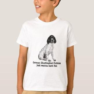 ドイツShorthairedポインターの子犬はユニセックスなワイシャツをからかいます Tシャツ