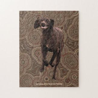 ドイツShorthairedポインターの犬恋人のデザイン ジグソーパズル