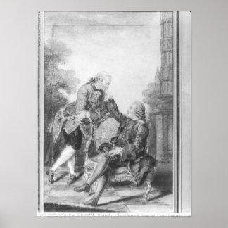 ドゥニ・ディドロおよびMelchiorのde Grimm男爵 ポスター