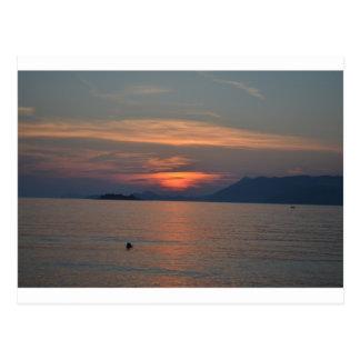 ドゥブロブニク、クロアチアの日没の郵便はがき ポストカード