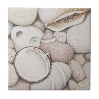 ドクムギ及び螺線形の貝および小石のセラミックタイル タイル