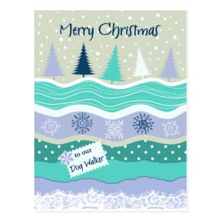 ドッグウォーカーの雪片のスクラップブック作りのためのクリスマス ポストカード