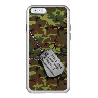 ドッグタッグとのジャングルの緑の迷彩柄 INCIPIO FEATHER SHINE iPhone 6ケース