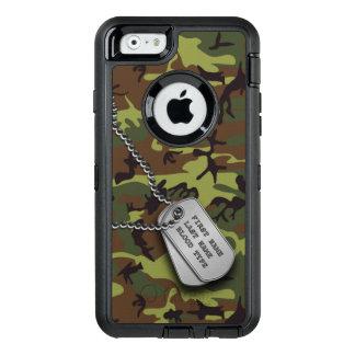 ドッグタッグとの緑の迷彩柄 オッターボックスディフェンダーiPhoneケース