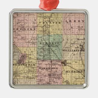 ドッジ郡、ウィスコンシンの州の地図 メタルオーナメント