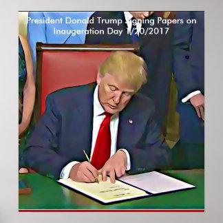 ドナルド・トランプ大統領の署名の紙ポスター ポスター