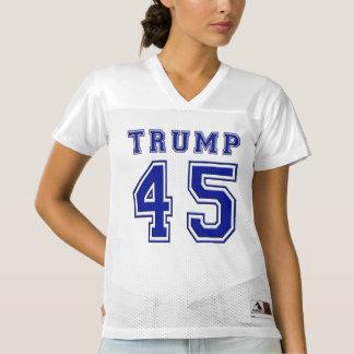 ドナルド・トランプ第45の大統領Blue Footballジャージー レディースフットボールジャージー