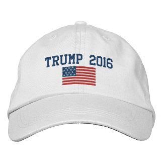 ドナルド・トランプ-米国旗を持つ大統領2016年 刺繍入りキャップ