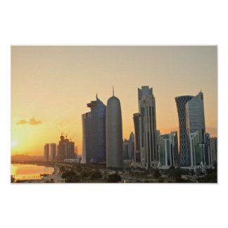 ドハ、カタール上の日没ポスター ポスター