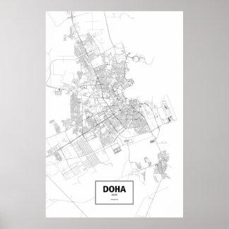 ドハ、カタール(白の黒) ポスター