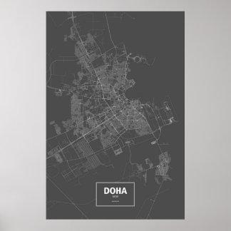 ドハ、カタール(黒で白い) ポスター