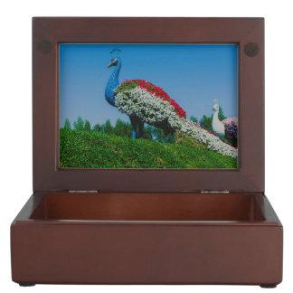 ドバイの奇跡の庭の孔雀を開花します ジュエリーボックス