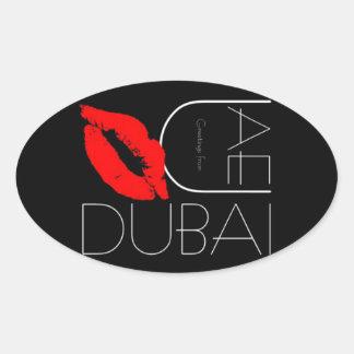 ドバイアラブ首長国連邦の赤い口紅のキスからの挨拶 楕円形シール