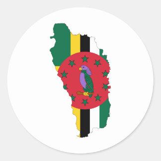 ドミニカの旗の地図DM ラウンドシール
