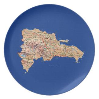ドミニカ共和国の地図のプレート プレート