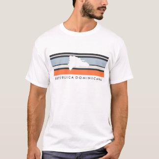 ドミニカ共和国の地図: モダンは縞で飾ります Tシャツ