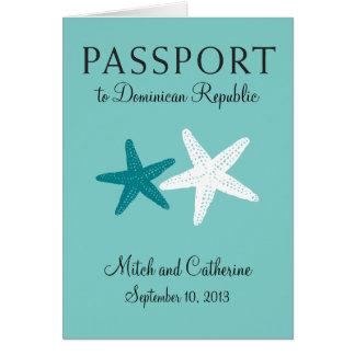 ドミニカ共和国への結婚式のパスポートの招待状 ノートカード