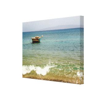 ドミニカ共和国ビーチ、ボートおよび山 キャンバスプリント