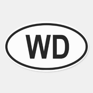 """ドミニカ""""WD """" 楕円形シール"""