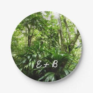 ドミニコ共和国の熱帯雨林Iの熱帯緑の自然 ペーパープレート