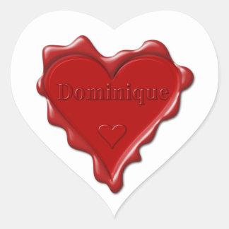 ドミニック。 一流のドミニックが付いている赤いハートのワックスのシール ハートシール