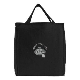 ドミノによって刺繍されるバッグ 刺繍入りトートバッグ