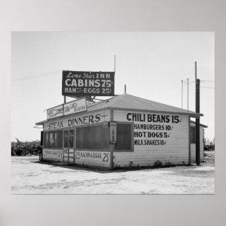 ドライブイン1939年。 ヴィンテージの写真 ポスター
