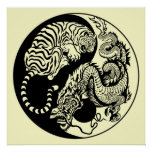 ドラゴンおよびトラの陰陽の記号 ポスター