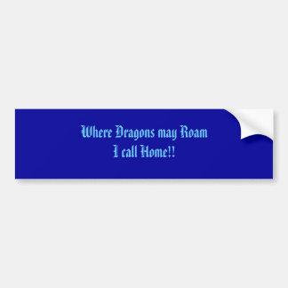 ドラゴンが私を歩き回るかもしれないところで家に呼んで下さい!! バンパーステッカー