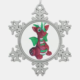 ドラゴンのオーナメント スノーフレークピューターオーナメント