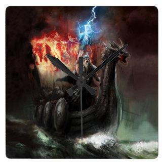 ドラゴンのバイキングの船の柱時計 スクエア壁時計