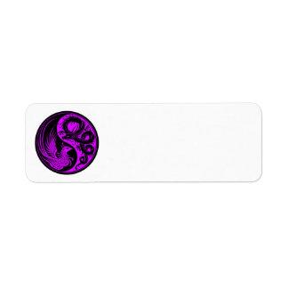 ドラゴンのフェニックスの紫色および黒い陰陽 ラベル