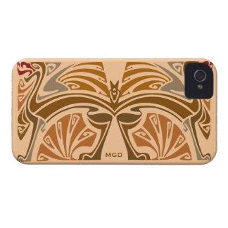 ドラゴンのヴィンテージのアールヌーボーの茶色のモノグラム Case-Mate iPhone 4 ケース
