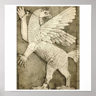 ドラゴンの古代アッシリアによって飛ぶ姿 ポスター