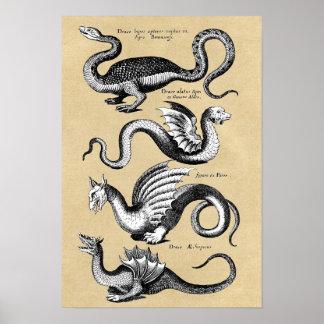 ドラゴンの壁の図表の歴史 ポスター