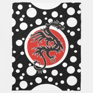 ドラゴンの太陽の黒く赤い白 + あなたのアイディア フリースブランケット