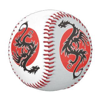 ドラゴンの太陽の黒く赤い白 + あなたのアイディア 野球ボール