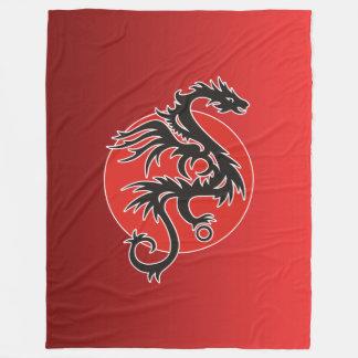 ドラゴンの日曜日のパワー黒く赤い白 + あなたのアイディア フリースブランケット