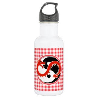 ドラゴンの陰陽; 赤と白のギンガム ウォーターボトル