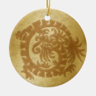 ドラゴンアイコン-金の2の金ゴールド セラミックオーナメント