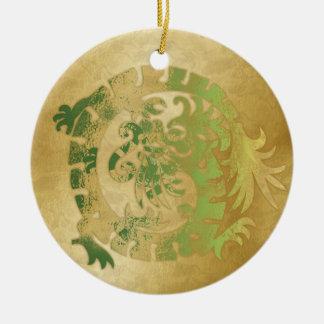 ドラゴンアイコン-金ゴールドの緑の黄色- 1 セラミックオーナメント