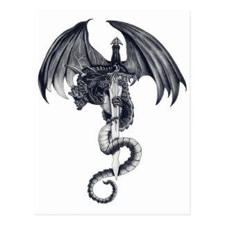 ドラゴン及び剣の郵便はがき ポストカード