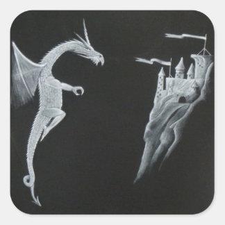 ドラゴン及び城のステッカー スクエアシール