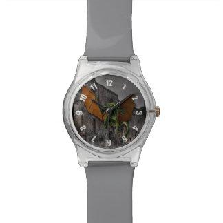 ドラゴン及び城のファンタジーのアートワーク 腕時計