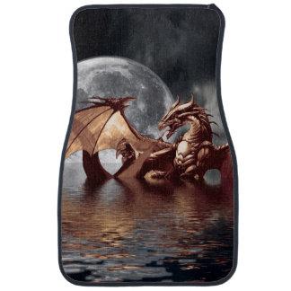 ドラゴン及び月のファンタジーのアートワーク カーマット