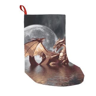 ドラゴン及び月のファンタジーのアートワーク スモールクリスマスストッキング