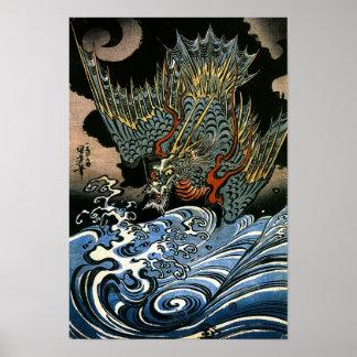 ドラゴン及び水精神のKuniyoshiの日本人のファインアート ポスター