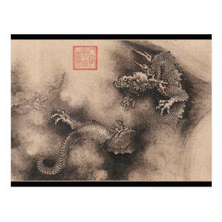 ドラゴン年の中国のな(占星術の)十二宮図の印の郵便はがき ポストカード