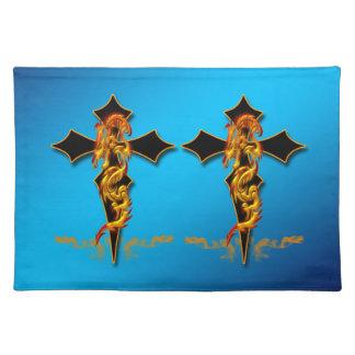 ドラゴン-アメリカ人のMoJoの十字のランチョンマット ランチョンマット